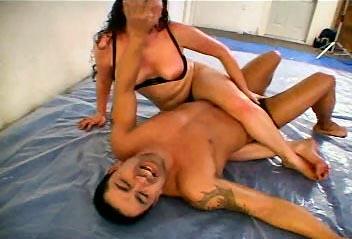 couples oil wrestling